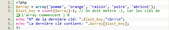 Afficher ce que contient la dernière clé d'un array