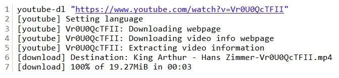 Résultat de la commande youtube-dl